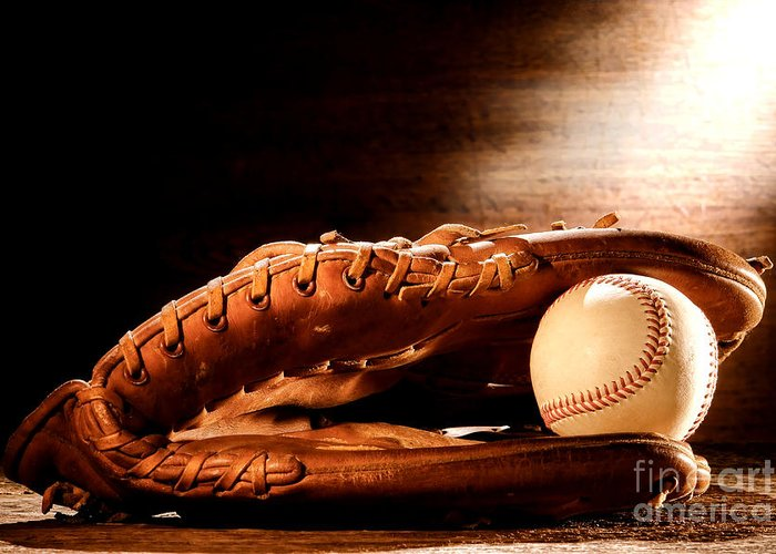 Baseball Greeting Card featuring the photograph Old Baseball Glove by Olivier Le Queinec