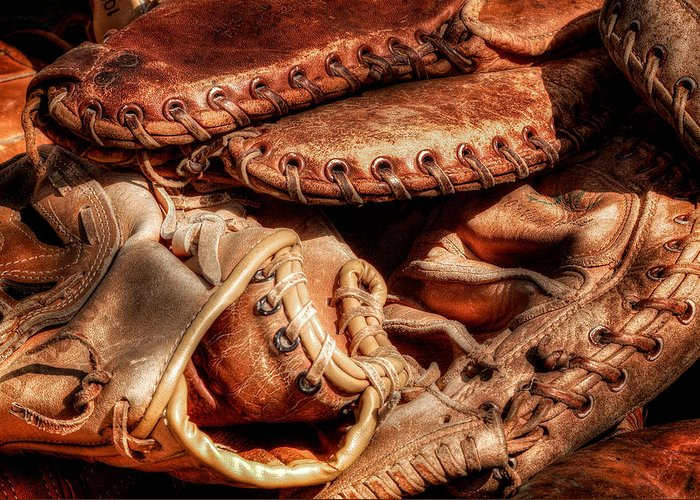 Baseball Greeting Card featuring the photograph Old Baseball Gloves by Bill Wakeley