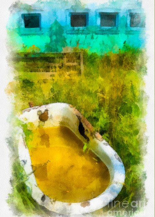 Abandoned Greeting Card featuring the digital art Old Bathtub Near Painted Barn by Amy Cicconi