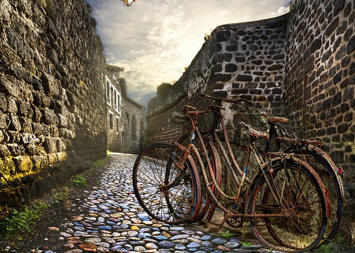 Barn Greeting Card featuring the photograph Old Bicycles On A Sunday Morning by Debra and Dave Vanderlaan