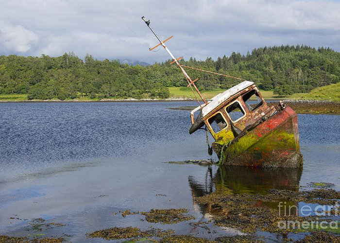 Loch Greeting Card featuring the photograph Old Boat In The Loch by Rob Hawkins