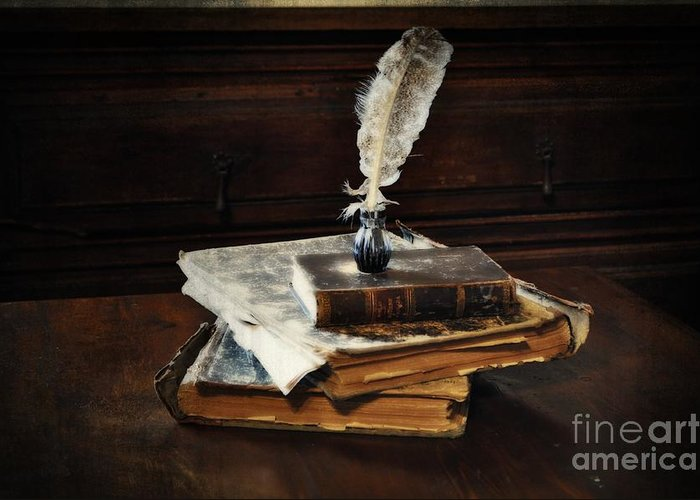 Old Books And A Quill Greeting Card featuring the photograph Old Books And A Quill by Mary Machare