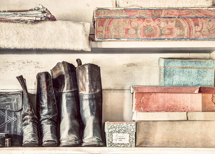 19th Century Greeting Card featuring the photograph Old Boots And Boxes - On The Shelves Of A 19th Century General Store by Gary Heller
