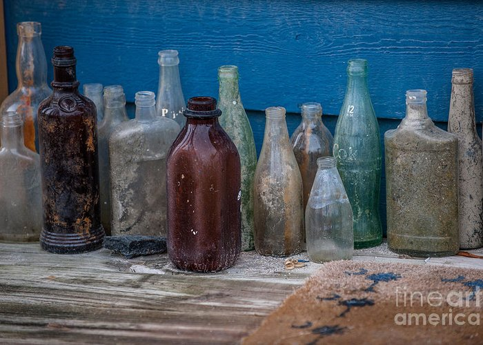 Old Bottles Greeting Card featuring the photograph Old Bottles by Dale Powell