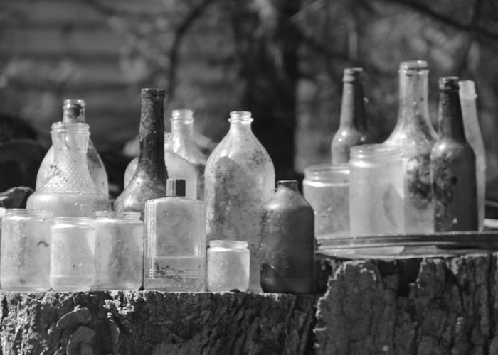 B&w Greeting Card featuring the photograph Old Bottles by Sarah Klessig