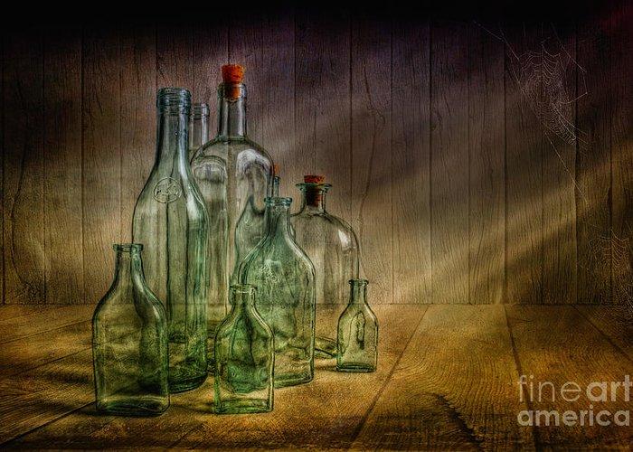 Art Greeting Card featuring the photograph Old Bottles by Veikko Suikkanen