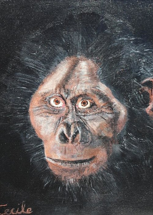 Primate Greeting Card featuring the painting Old Boy by Cecile Fortier