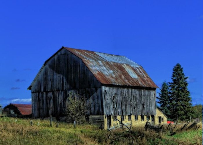 Old Broken Down Barn In Ohio Greeting Card featuring the photograph Old Broken Down Barn In Ohio by Dan Sproul