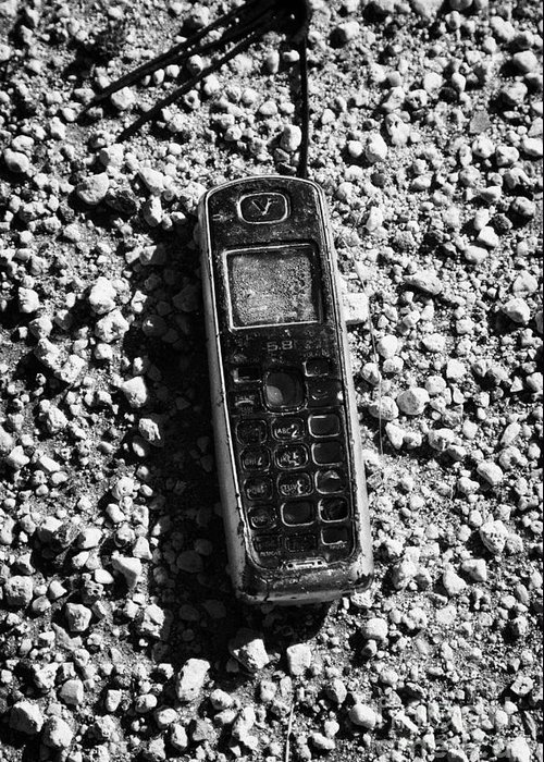Old Greeting Card featuring the photograph Old Broken Smashed Thrown Away Cheap Cordless Phone Usa by Joe Fox