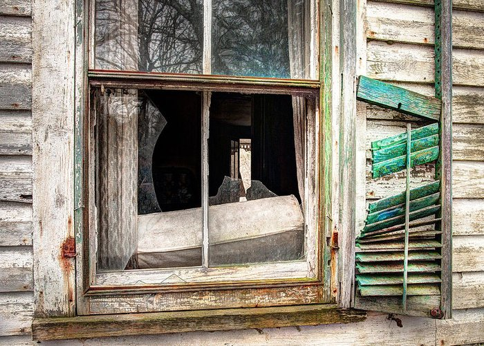 Old Windows Greeting Card featuring the photograph Old Broken Window And Shutter Of An Abandoned House by Gary Heller