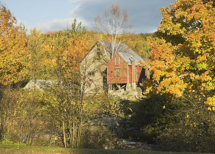 Fall Greeting Card featuring the photograph Old Buildings And Fall Colors In Vienna Maine by Keith Webber Jr