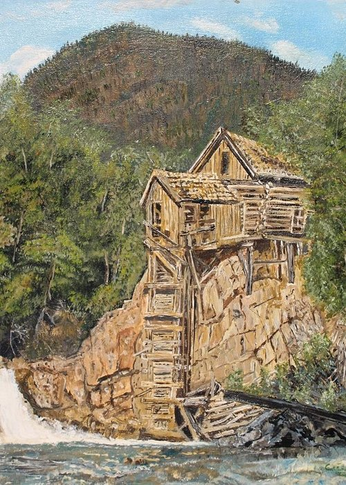 Old Cabin Greeting Card featuring the painting Old Cabin by Cecile Fortier