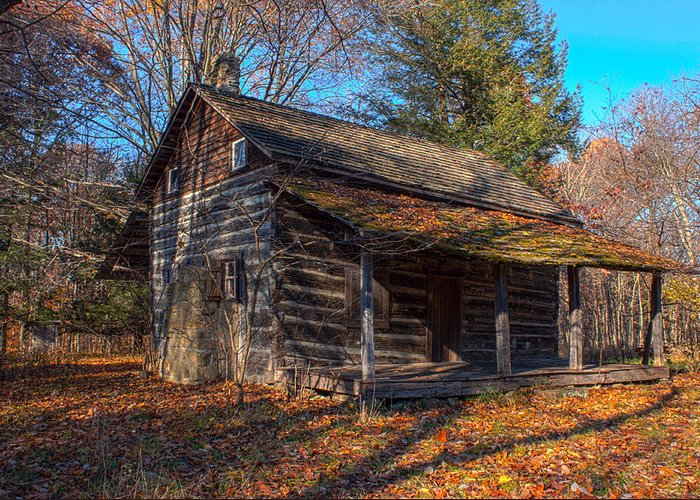 Cabin Greeting Card featuring the photograph Old Cabin In The Woods by Thomas Sellberg