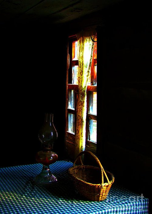 Cabin Greeting Card featuring the photograph Old Cabin Table With Lamp And Basket by Julie Dant