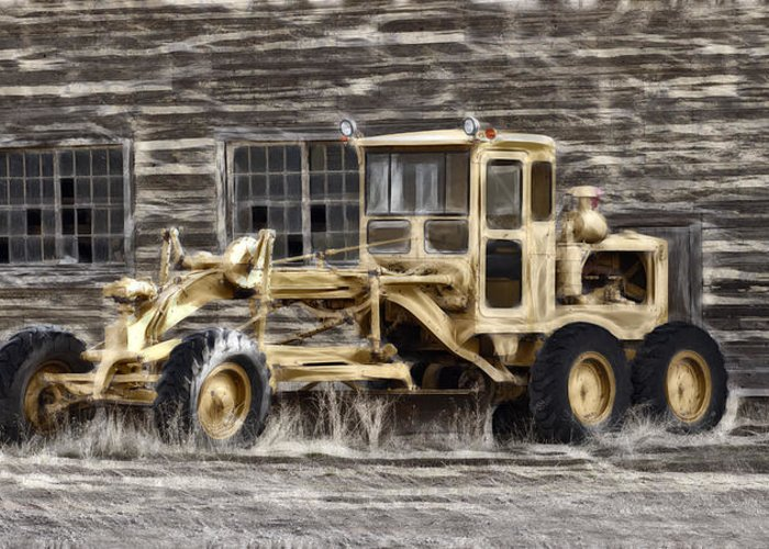 Old Cat Grader Greeting Card featuring the photograph Old Cat Grader by Wes and Dotty Weber