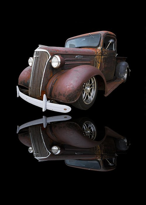 '37 Greeting Card featuring the photograph Old Chevy by Debra and Dave Vanderlaan