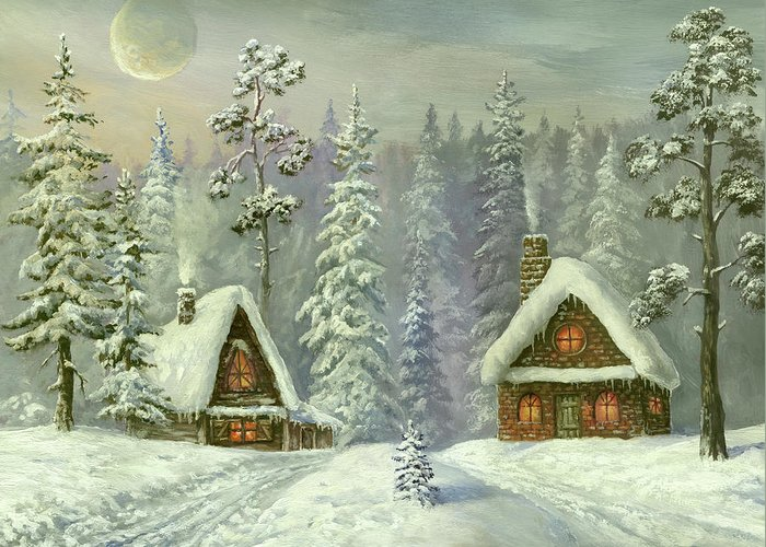 Art Greeting Card featuring the digital art Old Christmas Card by Pobytov