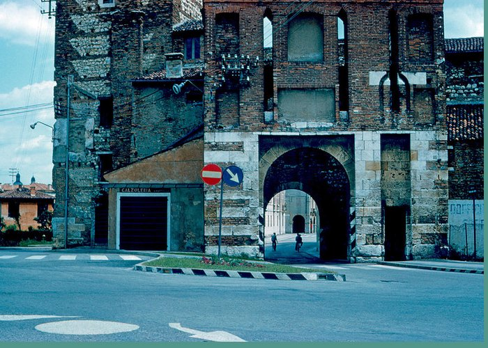 Vicenza Greeting Card featuring the photograph Old City Gate Vicenza 1962 by Cumberland Warden