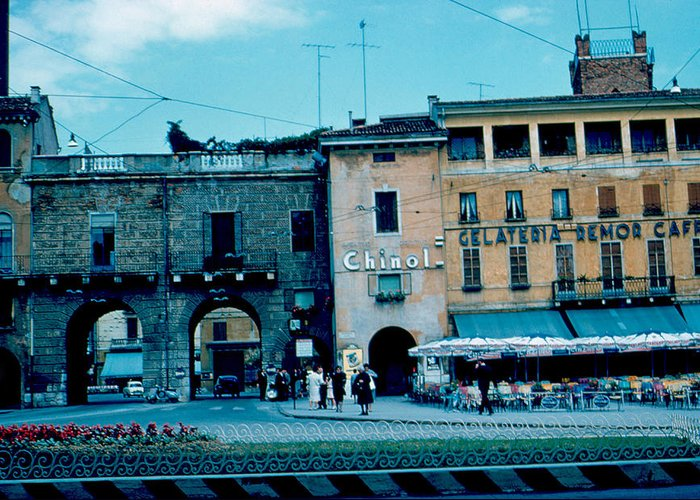 Vicenza Greeting Card featuring the photograph Old City Gate Vicenza 2 1962 by Cumberland Warden