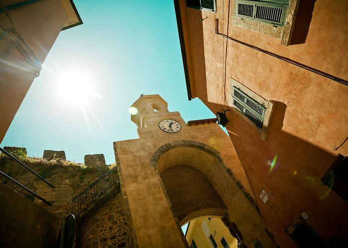 Buildings Greeting Card featuring the photograph Old Clock On The Tower And Sun by Raimond Klavins