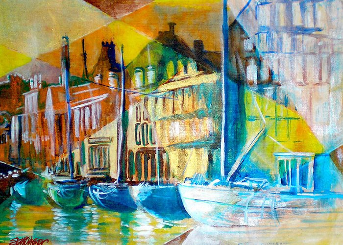 Old World Street Greeting Card featuring the painting Old Copenhagen Thru Stained Glass by Seth Weaver