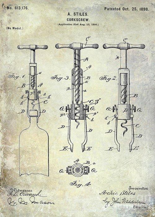 Corkscrew Patent Drawing Greeting Card featuring the photograph Corkscrew Patent by Jon Neidert