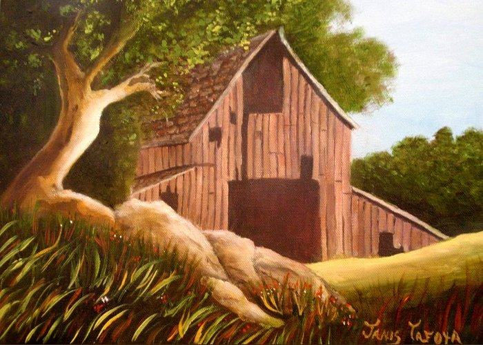 Country Greeting Card featuring the painting Old Country Barn by Janis Tafoya