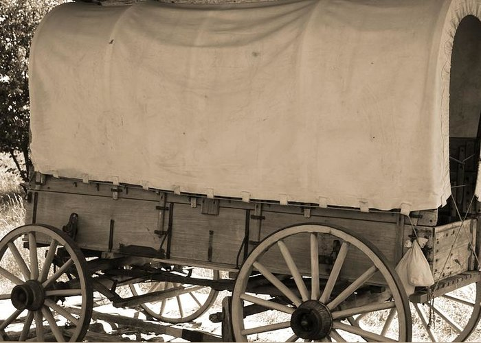 Old Covered Wagon Out West Greeting Card featuring the photograph Old Covered Wagon Out West by Dan Sproul