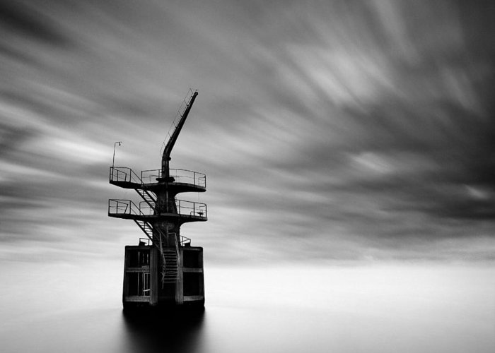Cargo Crane Greeting Card featuring the photograph Old Crane by Dave Bowman