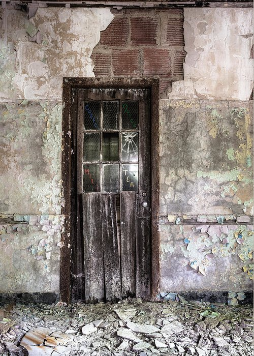 Old Door Greeting Card featuring the photograph Old Door - Abandoned Building - Tea by Gary Heller