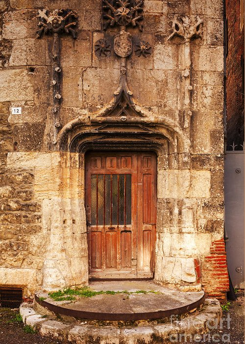 Ancient Greeting Card featuring the photograph Old Doorway Cahors France by Colin and Linda McKie