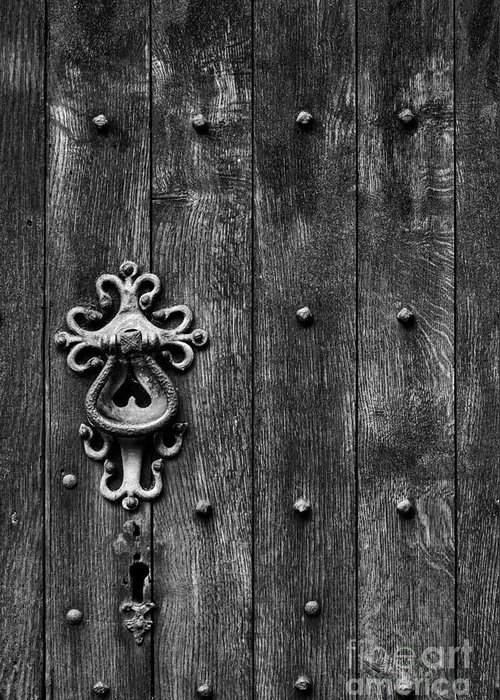Old Greeting Card featuring the photograph Old English Church Door Handle by Tim Gainey