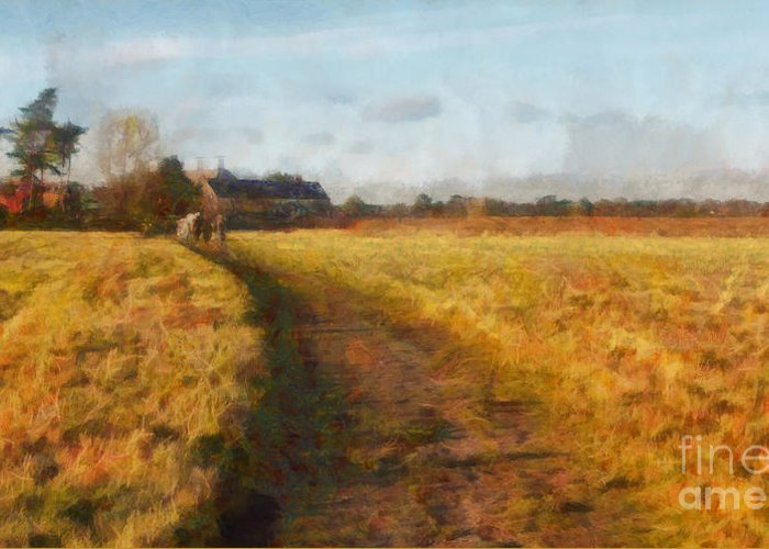 English Greeting Card featuring the painting Old English Landscape by Pixel Chimp