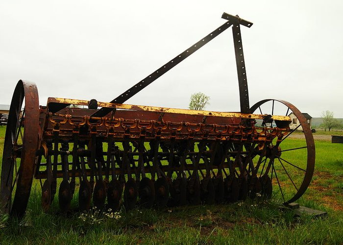 Antiques Greeting Card featuring the photograph Old Farm Equipment by Jeff Swan