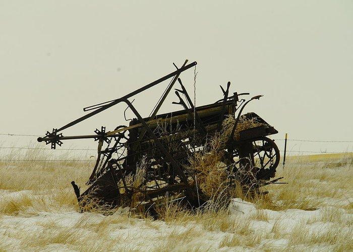Rakes Greeting Card featuring the photograph Old Farm Equipment Northwest North Dakota by Jeff Swan