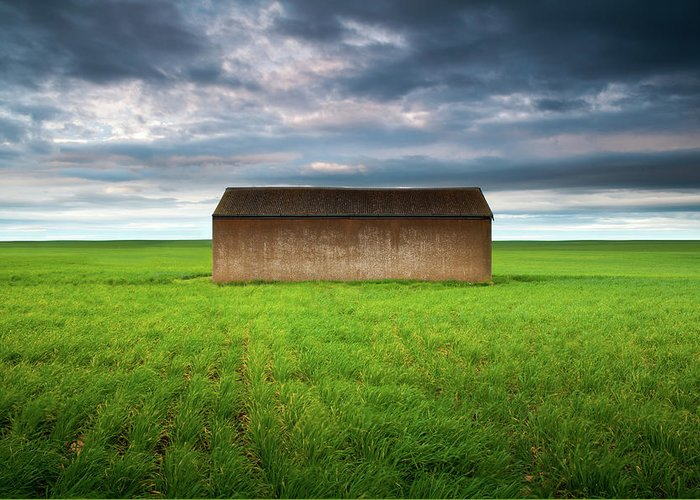 Tranquility Greeting Card featuring the photograph Old Farm Shed In Green Wheat Field by Robert Lang Photography