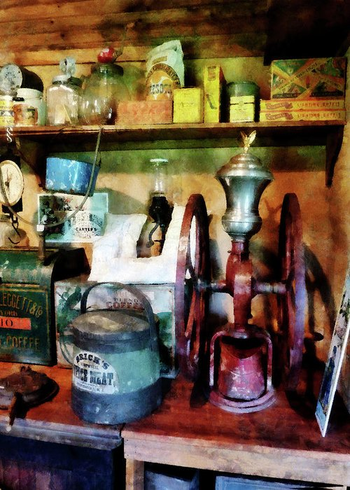 General Store Greeting Card featuring the photograph Old-fashioned Coffee Grinder by Susan Savad