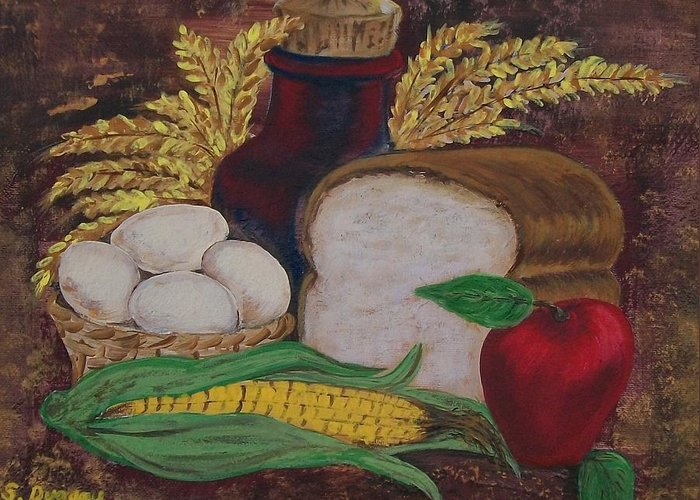Loaf Greeting Card featuring the painting Old Fashioned Goodness by Sharon Duguay