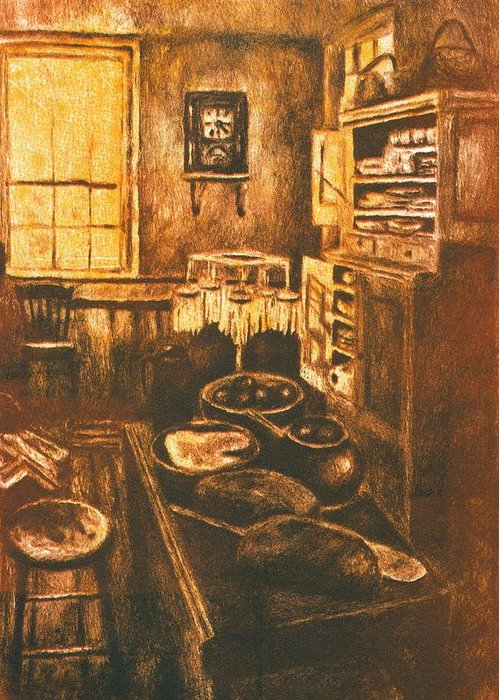 Kitchen Greeting Card featuring the drawing Old Fashioned Kitchen Again by Kendall Kessler