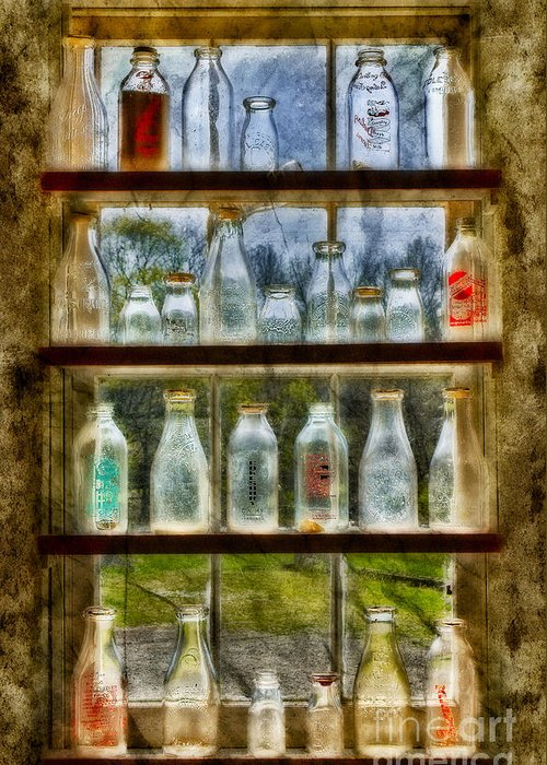 Milk Greeting Card featuring the photograph Old Fashioned Milk Bottles by Susan Candelario