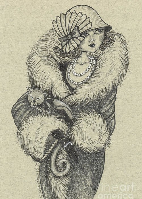 Drawing Greeting Card featuring the drawing Old-fashioned by Snezana Kragulj