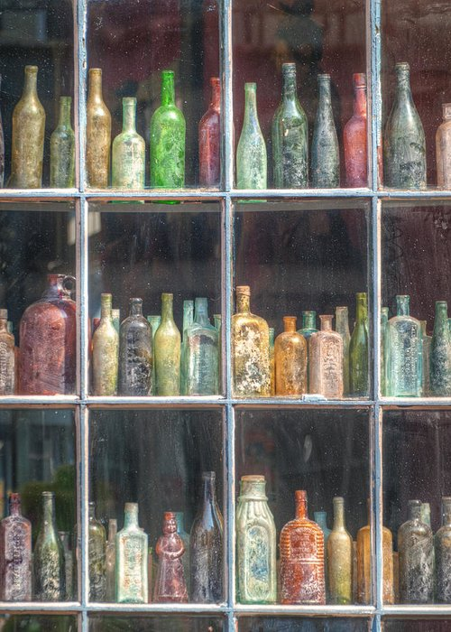 Bottles Greeting Card featuring the photograph Old Glass by Brenda Bryant