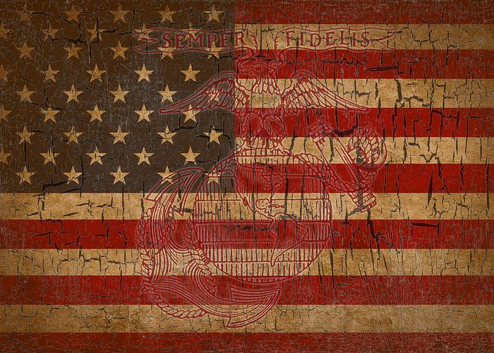 Flag Greeting Card featuring the digital art Old Glory and the Marine Corps by Dawn Romine