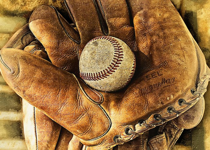 Baseball Greeting Card featuring the photograph Old Gloves by Ron Regalado