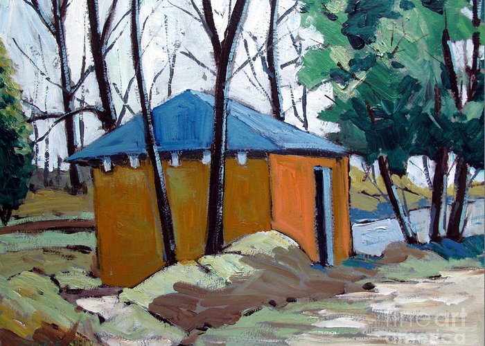 Golf Course Greeting Card featuring the painting Old Golf Course Shed No.5 by Charlie Spear