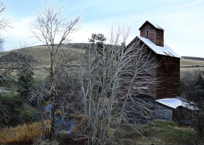 Cabin Greeting Card featuring the photograph Old Grain Barn by Steve McKinzie