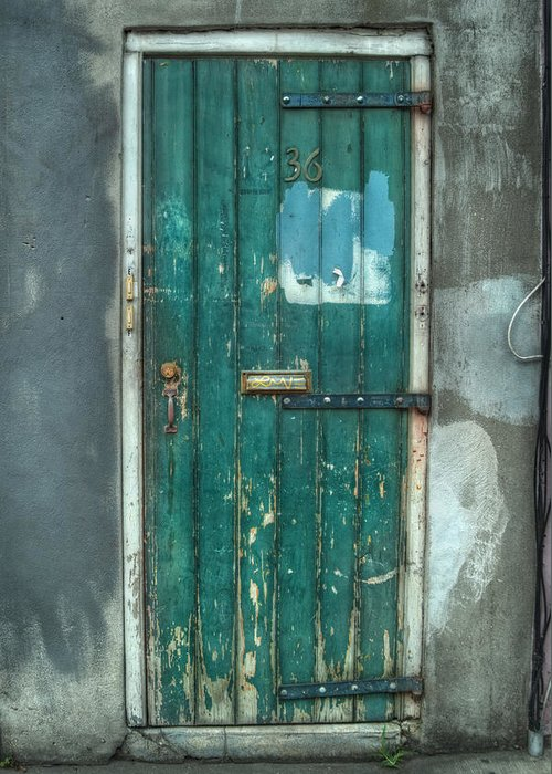 Door Greeting Card featuring the photograph Old Green Door In Quarter by Brenda Bryant