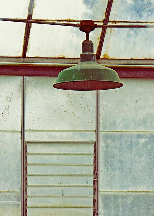 Abandoned Greenhouse Greeting Card featuring the photograph Old Green Lamp by Patricia Strand