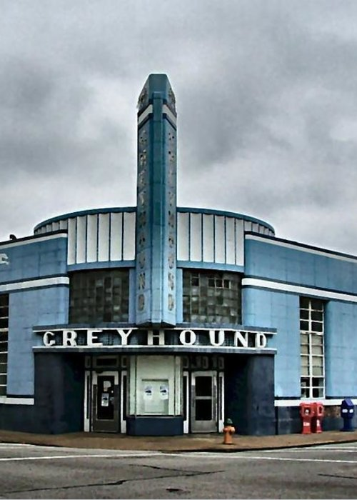 Greyhound Greeting Card featuring the photograph Old Greyhound Bus Terminal by Julie Dant