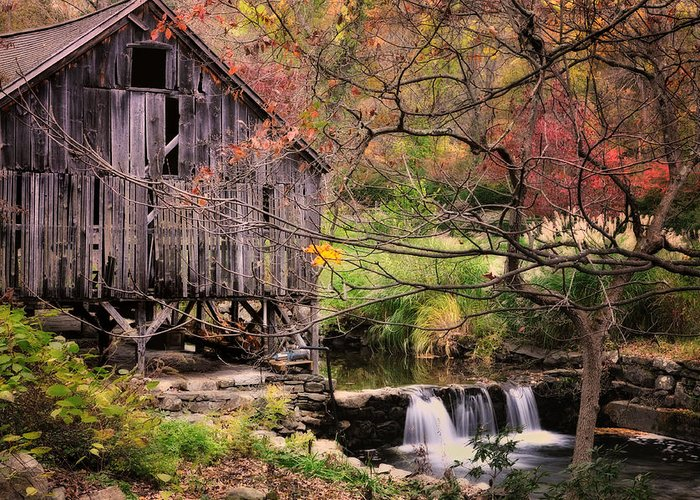 Grist Mill Greeting Card featuring the photograph Old Grist Mill - Kent Connecticut by Thomas Schoeller